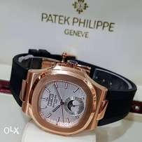Patek Philippe rose gold rubber strap watch