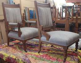 Oak Grandfather and Grandmother Chairs - R3,800.00