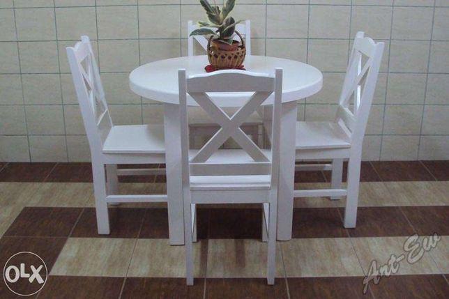Stół Okrągły Biały Krzesła Ecru Wanilia Ral Dąb Sonoma