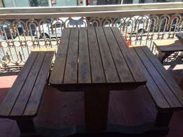 Outdoor wooden bench and table