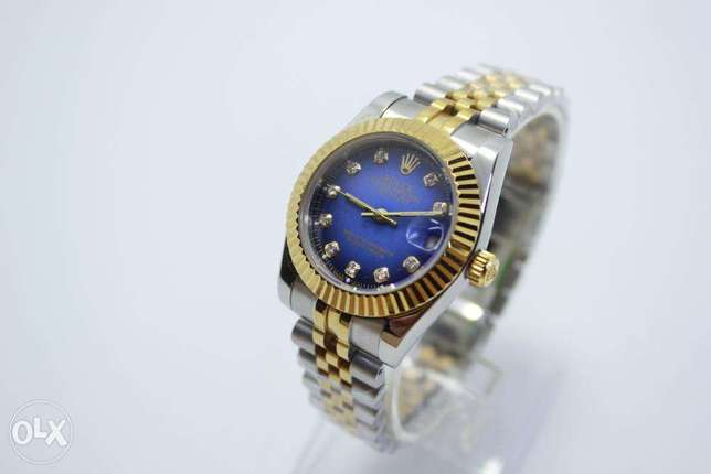 Datejust Half Gold Blue For women ساعة حريمي