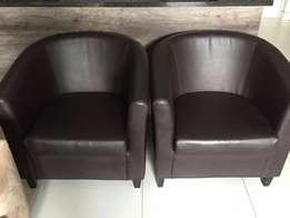 Chocolate brown tub chairs for sale