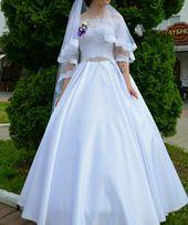 ec54899f5d314b Весільна біла атласна сукня,плаття+круги(в подарунок)+можливий торг