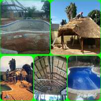 Thatching and swimming pools