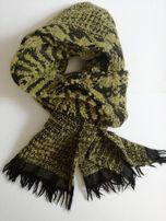 e45dfe652482d4 ciepły szal szalik damski zielony tweed wełna wełniany