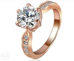 Kate Princess Wedding Rings Rose Gold/Silver Color Clear Zircon