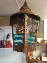 Very Old ship brass and copper hand made swinging aft lamp.