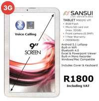 "New Sansui 9"" Android Tablet Bundled with Flip Cover Keyboard R1800"