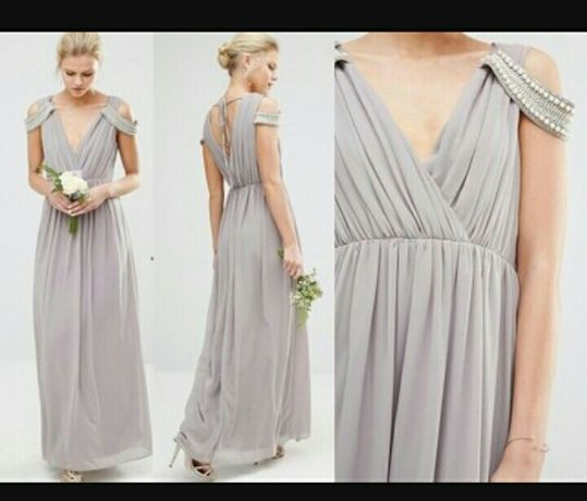 Sukienka długa szara sylwester wesele studniówka bal