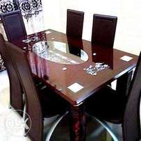Exotic Glass Durable Dining Table & Six Chairs