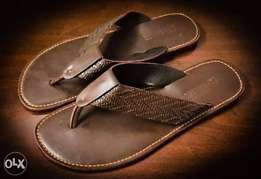 Brown Leather Slippers Size 43