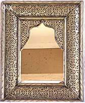 Handmade Moroccan Imported Fine detailed filligree metal frame mirror