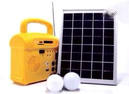 Portable solar generator with a solar panel and two bulbs