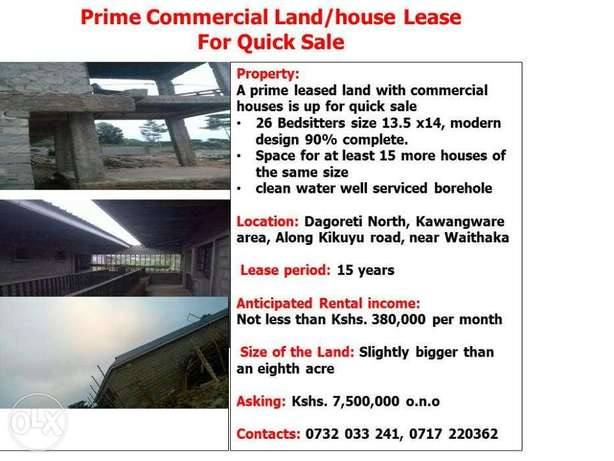 Prime Commercial Land/house Lease for Quick Sale Dagoretti - image 1