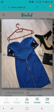 375332d246d78b Sukienka niebieska XS 34 impreza wesele studniówka sexy zamek plecy Kraków  - image 2