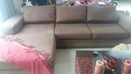 """stunning """"L"""" shaped chocolate couch for sale"""