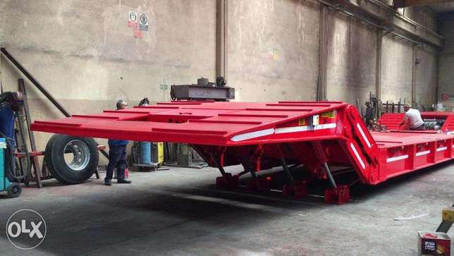 Front loading step deck low bed trailers 4 axle 100Ton loading