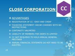 Close Corporation for Sale - great price and benefits - contact urgent
