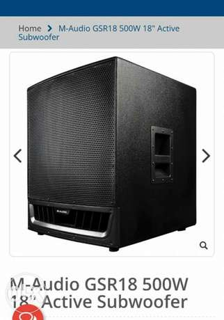 2 sub single 18 M-audio bass dj speakers supper clean with covers