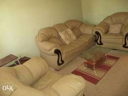 Leather sofa set and glass table