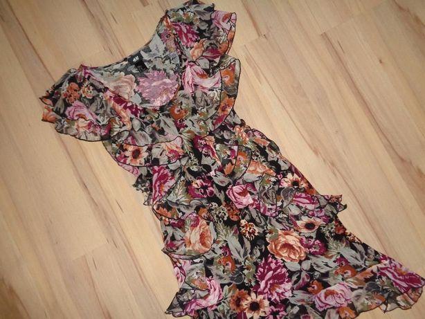 H&M modna asymetryczna sukienka kwiaty falbanki OKAZJA jak