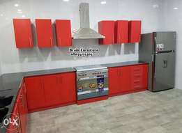 Full red kitchen cabinet with pantry
