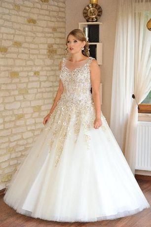 Luksusowa Suknia ślubna Agora 16 08 Roz 40 Ecru Ivory Gold Koszalin