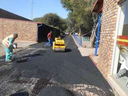 Brick paving and tar-surfacing