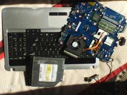 Laptop Motherboard + CD/DVD Drive/Writer + Keyboard + Mouse Pad