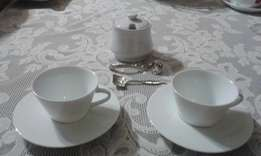 Nespresso cup/saucer set with FREE Jenna Clifford spoons &a sugar bowl
