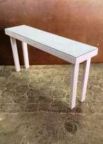 Console Farmhouse series 1600 with glass top - White washed