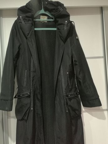 Płaszcz damski kurtka bomberka ocieplany 38 długi czarny z