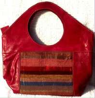 Authentic Handmade Moroccan Imported Red leather and silk handbag