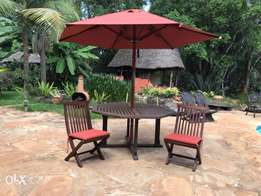 sunny daze garden table, 6 chairs with cushions, umbrella