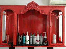 Red antique cupboard