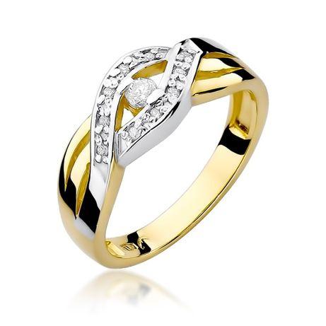 Pierścionek Zaręczynowy Z Brylantami żółte Białe Złoto Grawer Gratis