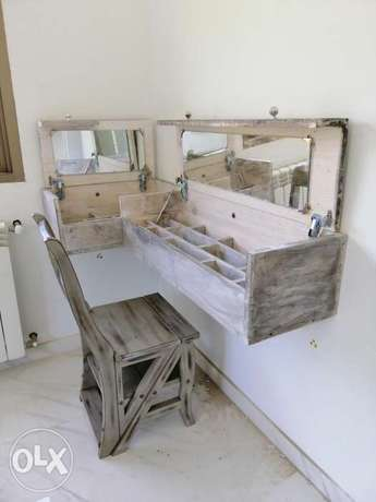 Commode wood rustic vintage style creative with miror خشب كومود