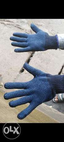 Dotted gloves.