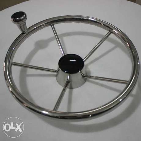 13-1/2 inch Boat Steering Wheel Stainless 5 Spoke 25 Degree with Knob