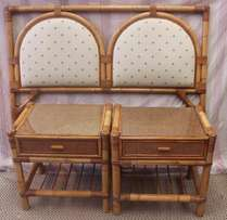 Cane Headboard and Two Pedestals - R875.00