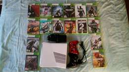 Xbox 360 S with 2 controllers and 16 great games