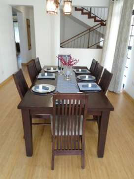 Pristine Chocolate Brown 8 Person Dining Room Table And Chairs
