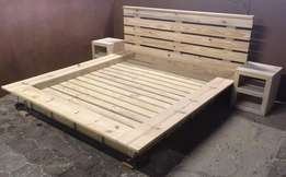 Box bed with headboard Cottage Elegant series Queen size Combo - Raw