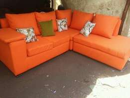 Orange leather sofa ready made