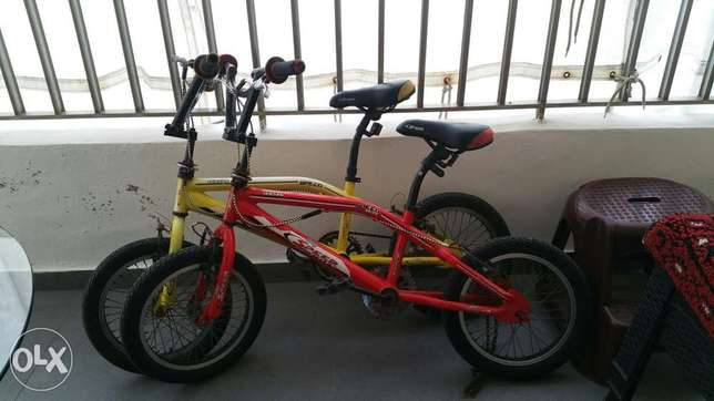 2 bicycle with car handle