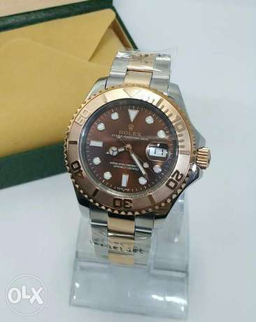 Rolex Yacht / Master Rose Gold With Black First Copy بوكس هدية