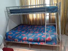 Tri Bunk Bed (Single at Top, Double at Bottom) With Matresses
