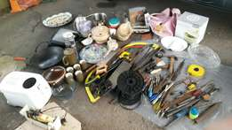 Old tools, fishing rods, kitchenware etc.