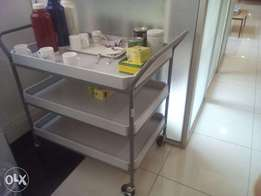 Food Trolley With Wooden Shelves