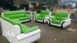 Leather seat green cream mix 7seater